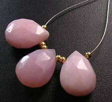 3 LARGE PINK OPAL FACETED PEAR BRIOLETTE BEADS 13-14 mm P30