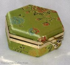 SPRING GREEN FLORAL BROCADE HEXAGONAL MIRRORED JEWELRY BOX TOTE