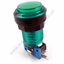 28mm Round 12v LED T10 Bulb Arcade Button & Microswitch (Green) - MAME, JAMMA