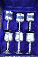Vintage! Engraved Silver-Plated~Set 6 Goblets/Cups~In Velvet Box~E.P.N.S~India