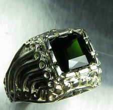 2.5ct Natural dark green tourmaline 925 sterling silver unisex ring 9.25 S resiz