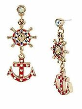 E52 Betsey Johnson Glow Red Dangling Boat Anchor Ship Sailor Wheel Earrings  AU