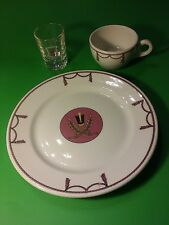 DETROIT-LELAND HOTEL SERVICE PLATE CUP SHOT GLASS  BOOK CADILLAC HOTEL UAW UNION