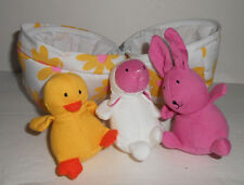 Pier 1 Import White Yellow Floral EGG Bunny Duck Lamb Hatching Plush Stuffed Toy