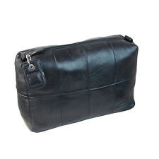 Pierre Cardin 100% Leather Travel Toiletry Wash Bag - Black