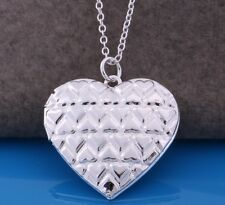 "925 Sterling Silver Heart Photo Picture Locket Pendant Necklace 18"" Link Chain"