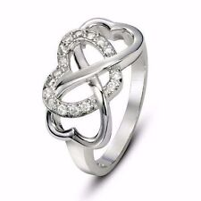 Hot Sell Rhodium Plated  Cz Infinity Heart Love Promise Ring Size 7