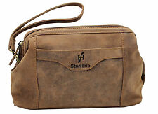 Starhide Top Framed Zipped Handmade Real Hunter Leather Wash Toiletry Bag #550