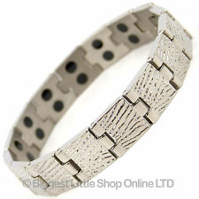 NEW Mens TITANIUM Magnetic Bracelet Chrome Finish 28 Magnets Neodymium Therapy