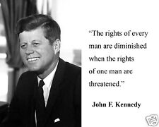 """John F. Kennedy JFK  """" the rights of every"""" Quote 11 x 14 Photo Picture #bwnh1"""