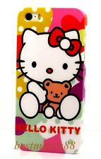 for iphone 5 5s hello kitty white red pink w/ bow & teddy bear hard case +film