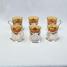 WMF Efeu 6er Set Jugendstil Teeglashalter / Teegläser, versilbert, Art Nouveau