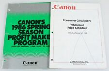 CANON F1, T50, T70, T80, T90 AND CALCULATER, 1985 AND 86 PRICE LISTS