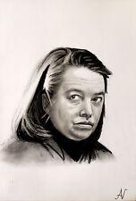 Kathy Bates - ritratto portrait grafite e carboncino cm. 33 x 48
