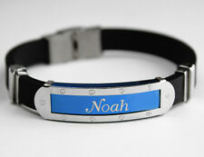 NOAH - Mens Silicone & Blue Name Plate Engraved Bracelet - Jewelry Gifts