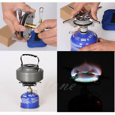 Stainless Steel Gas Stove Burner Hiking Picnic BBQ Camp Backpacking Case Outdoor