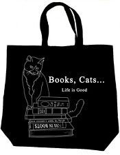 Cat Bag, Books - Cats - Life Is Good Tote Bag, MEOW - reader gifts, literary