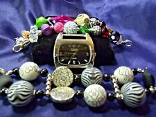 Large Elixir Woman's Watch with 2 Bands **Mixed  Beads & Acrylic Bands** ME 029