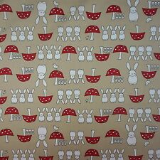 Tan Spring Bunny 100% Poplin Cotton Fabric (Per Metre)
