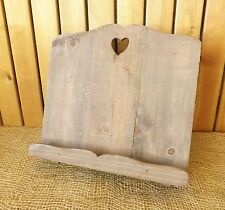 Rustic Country Vintage Natural Wooden Heart Cook Recipe Music Book Holder Stand