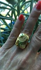 """NEW Gorgeous """"Look of Fine"""" Gold Tone Oversized Cocktail Ring W CZ Detail size 6"""