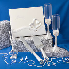 Double Heart Wedding Set Guest Book ,Pen, Champagne Flutes Cake & Knife server