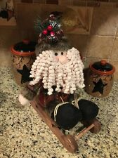 Primitive Country Santa Claus Figure Sled Woodland Christmas Plush Doll 12""