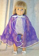 """Doll Clothes fit American Girl 18"""" inch Leotard Bodysuit Cape Purple Silver NEW"""