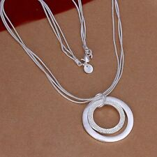 Hot 925 Sterling Silver Plated Long Chain Double Circle Pendant Necklace Jewelry