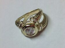 AMAZING LOOKING RING SOLID 14K YELLOW GOLD CUBIC ZIRCON RING SIZE 7.75