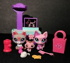 Littlest Pet Shop 2465 1921 2665 Pink Grey Wolf Kitty Cat Accessories Baby Lot 3