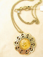 Lucky Brand Gold-Tone Stone Flower Pendant Necklace JLRY5936