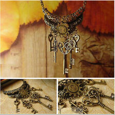 Women Vintage Retro Bronze Keys Pendant Necklace Long Sweater Chain Jewelry