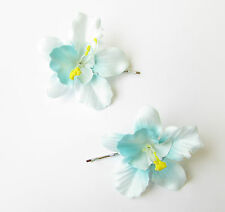 2 x Turquoise Light Blue Orchid Flower Hair Grips Clips Bobby Pins Slides 2143