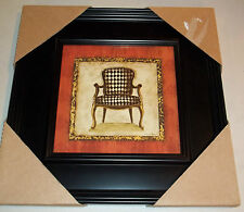 "Framed Wall Art Checkered Chair Cheetah African Animal Print Border 13"" #68"