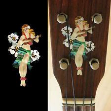 Hula Girl with Hibiscus Flowers Inlay Sticker Decal Ukulele Headstock