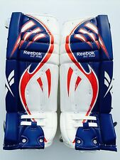 Reebok Larceny Pro goalie leg pads 30 +1 red white blue int hockey goal pad new