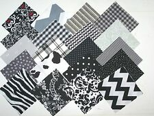 "100 cotton fabric quilt blocks 4"" Black/ white/& Gray squares lot/ 20 diff/5ea"