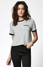 Sold Out! kendall & Kylie heather gray cropped heartbreaker ringer graphic top S