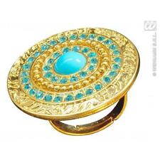 Gold & Turquoise Ring Cleopatra Egyptian Fancy Dress Costume Jewellery