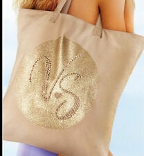 VICTORI'S SECRET VS STUDDED BLING LARGE BEACH/POOL/GYM TOTE BAG KHAKI NWT