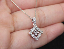 "New 10k Dancing Floating Diamond Vintage Dangle pendant 18"" Box Chain White Gold"