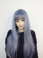 Anime Harajuku Wig Lace Front Blue Gray Cosplay Wig Party+Wig Cap Free Shipping