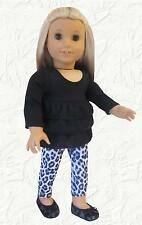 Doll Clothes Leggings Animal Print and Ruffled Top fit 18 inch American Girl