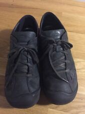 Women's US Size 9 KEEN Barika Lace Oxford Shoes Black w Purple Stitch Leather