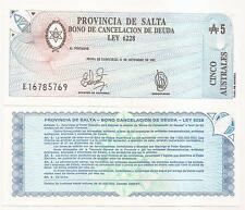 ARGENTINA SALTA AUST. 5.- S-2612g UNC  DECRETO 2292 C-062