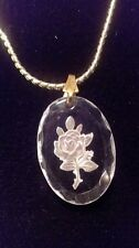 """VTG Etched Crystal Acrylic Rose Pendant Necklace 20"""" Chain Valentine's Day"""
