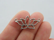 4 Lotus flower connector charms silver tone F41