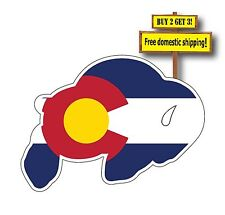 Colorado Buffalo Flag superimposed on Buffalo Decal/Sticker Die Cut
