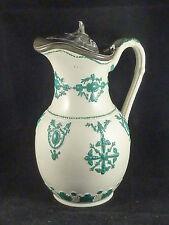 englischer Keramik-Henkelkrug / Schenkkrug mit Henkel und Zinndeckel, gemarkt